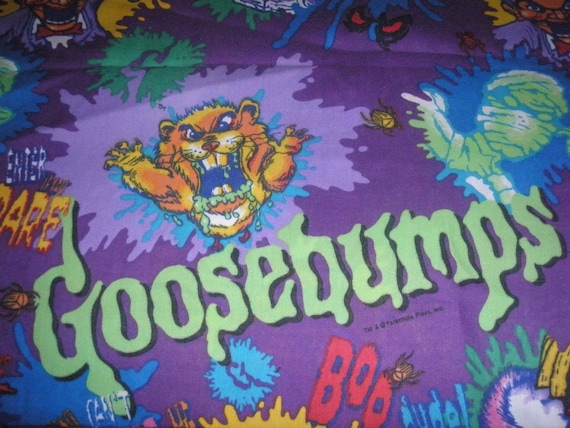 Goosebumps TWIN FLAT Sheet - Reclaimed Bed Linens- Fabric