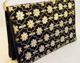 Vintage Embroidered Velvet Clutch Purse from India