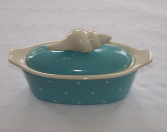 Conch Shell Pottery Butter Boat (3 Piece) -Turquoise Blue With White Polka Dots - USA Made