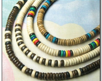 """Native Treasure - Set of 4 Wood Coco Shell Necklaces Surfer Beaded Chokers  - 12"""" to 30"""" - 8mm (5/16"""")"""