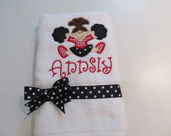 Cheerleader Applique, Red, Black, Personalized, White Towel, Terry cloth