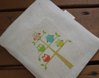 Reusable sandwich bag - Owls on natural unbleached cotton - 3 options to choose from