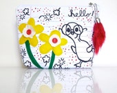 Note Book Paper Pouch - Hello Ugly Duckling - Zippered - Back to School  - OOAK - Handmade in USA