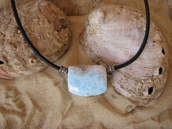 Larimar necklace on leather