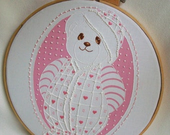 Nursery wall art Baby girls room Hoop wall hanging Vintage embroidery Pink Teddy bear