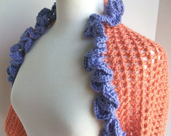 Ruffled bolero  Melon and lavender shrug   Lacy mesh  Frilly ruffled collar  Three quarter sleeves  Spring Summer wrap