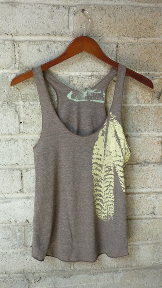 Cocoa and Pale Yellow Feathers Tri-Blend Racerback Tank Top hand printed by Blonde Peacock
