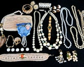 Huge Lot Destash Vintage Pearls / Necklaces / Earrings / Bracelet / Brooches / Beaded Clutch Purse / Button Covers Repurpose Projects