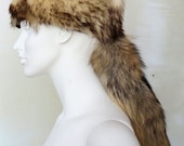 Real Coyote Fur Unisex L Coonskin Davy Crockett Muzzleloader Mountain Man Style Cap