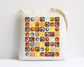 Eco friendly tote bag retro square tiles orange citrine mustard geometric decor market shopping bag grocery bag accessories