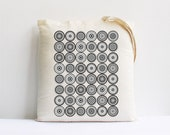 Summer recycled Back to school teachers gift geometric decor tote bag eco friendly kids gift round urban grey circles swirls
