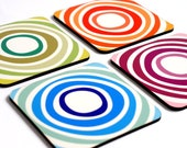 Drink Coasters, Modern Geometric Abstract Design Decorative Wooden Square Coaster Set , Set of 4 Coasters