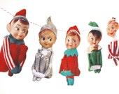 Vintage Christmas Elves Banner - photo reproductions on felt - vintage Knee-Hugger Elf Garland - kitch Christmas