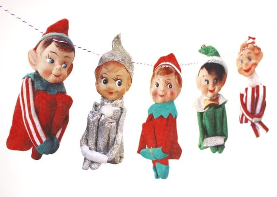 Vintage Christmas Elves Banner, vintage Knee-Hugger Elf Garland, kitch Christmas, vintage elves Christmas garland