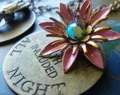 Ruby, N33: Gold tone necklace with vintage coin and vintage floral rhinestone charm, burlesque, boho style