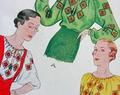 RARE - EXQUISITE Vintage 1930's McCALL Sewing Pattern 87 - Uncut - Russian Blouse & Embroidery Transfer