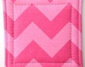 Set of 4 Coasters made w/ Tone on Tone Chevron in  Bubble Gum Pink - LoveMyCoasters