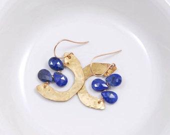 Earrings Brass Cobalt Blue Hoops Gold Circles Handmade Jewelry Birthstone Gifts Under 50
