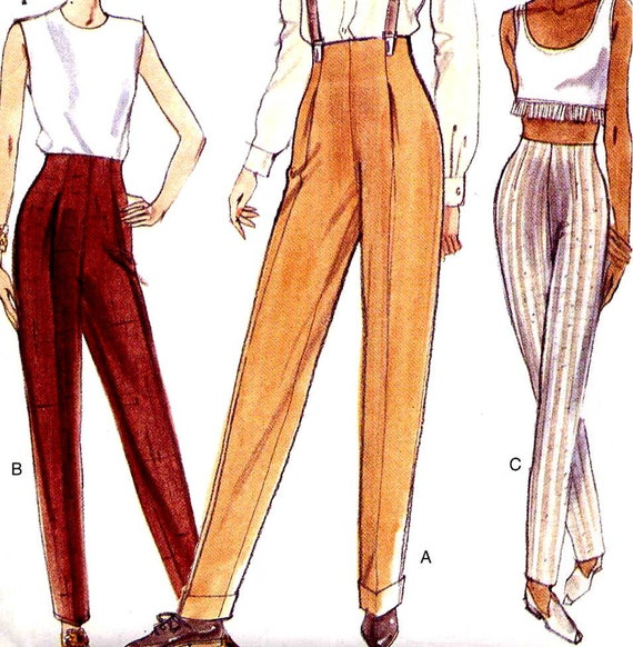 Vogue 9203 High Waist Tapered Pants Easy Sewing Pattern Waist