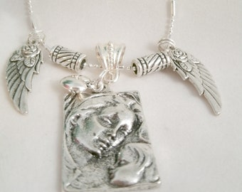 Mother and Child Necklace Pendant with Rose Angel Wing charms