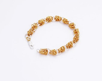 Chainmaille Gold And Silver Bracelet