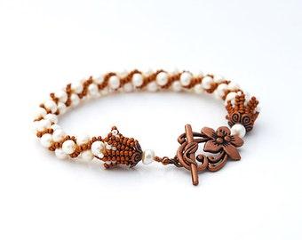Pearls Crochet Bracelet - Copper Age
