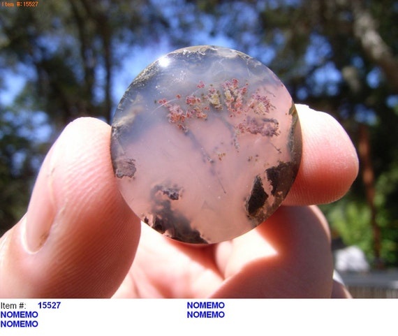Priday Plume Moss Agate Round Cabochon Beautiful Rare Gem Polished 27mm