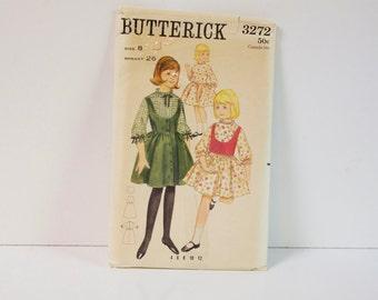 Vintage 1960s Butterick Girls Dress Jumper or Vest Pattern 3272 Size 8