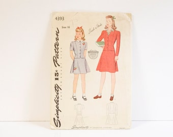 Vintage Girl's Dress 1940s Simplicity 4393 Girl's Two Piece Dress Pattern