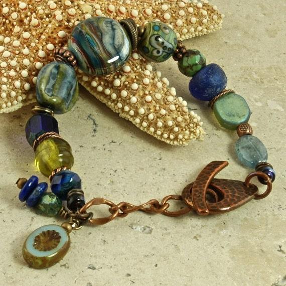 Reserve Listing for Heather Neon Skye Artisan Lamp work and Glass OOAK Bracelet