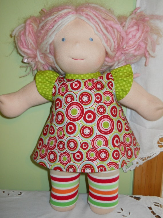 2-Pc Set Riley Blake Mind's Eye Red Top with Striped Leggings - Waldorf Doll Clothes - 15 Inch Bambo Size
