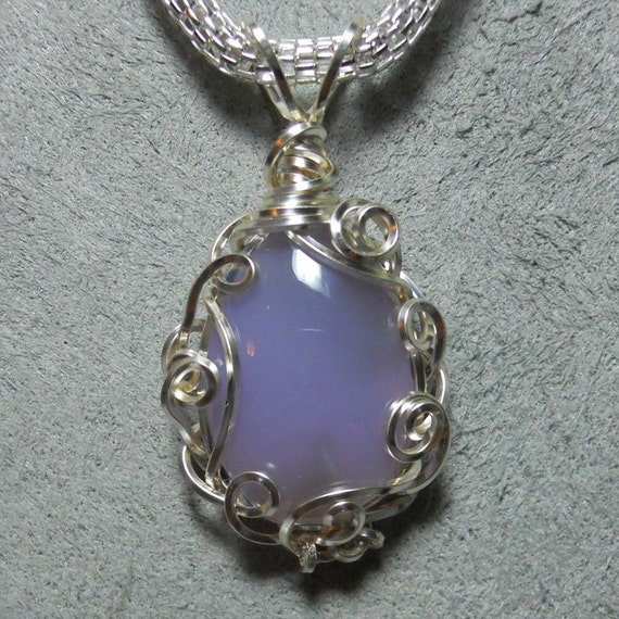 Holly blue agate cabochon pendant, two sided drop, hand wrapped, silver filigree setting