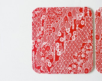 Red Chiyogami Note Card Set . Save The Date Cards . Invitations . Greeting Cards . no.77