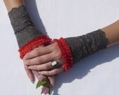 Romantic Lace Wristlets, Armwarmers, Grey Fairy and Elven Gloves with Red Ruffled Lace, Edwardian, Gothic Lolita, Cosplay