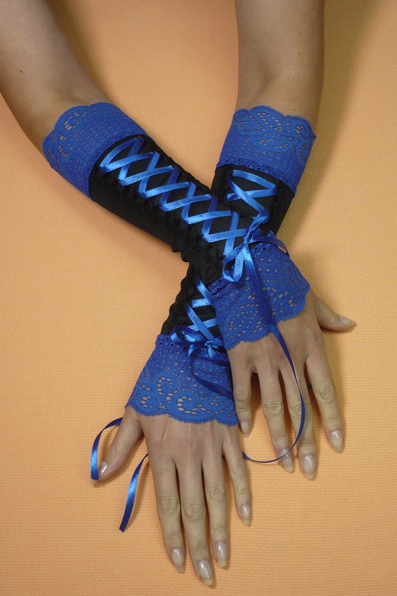Black and Cobalt Corset Armwarmers, Gothic Costume Gloves with Royal Blue Lace and Satin, Gauntlets, Vampire, Baroque Style