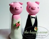 Pig Wedding Cake Topper - Handmade by The Happy Acorn