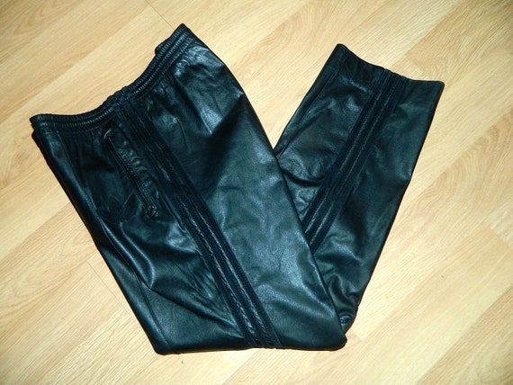 Vintage 1980s Black Leather Pants 80s Adidas By