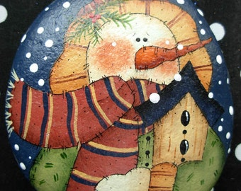 Folk Art Snowman with Birdhouse Garden Stone- Handpainted|Home/Garden Decor|Paperweight