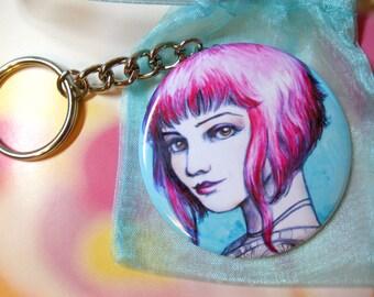 Ramona Flowers Pink Hair Fan Art Keychain