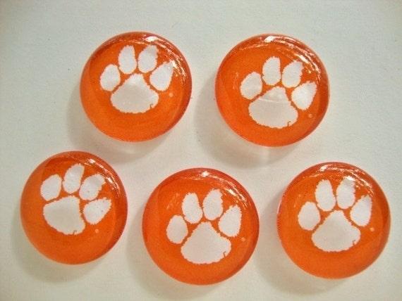 Clemson University Tiger Paw Glass Tile Magnets