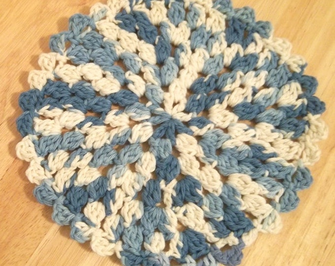 Coaster - Crochet Coaster or Potholder - Cotton Yarn - Blue and White