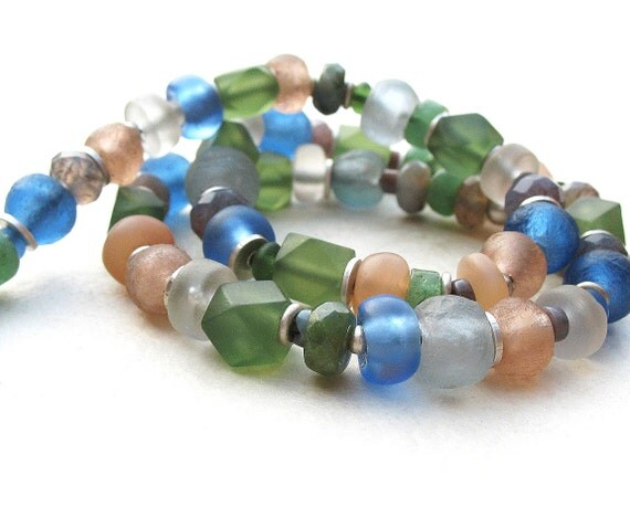 Frosted Pastels Ethnic Style Necklace Choker Peach Blue Green White Trade Beads and Sterling Silver