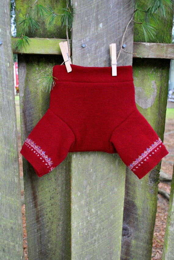 Medium Upcycled Lambs Wool Soaker  Shorties Diaper Cover Lined with a 2nd inner layer of Cashmere NEW