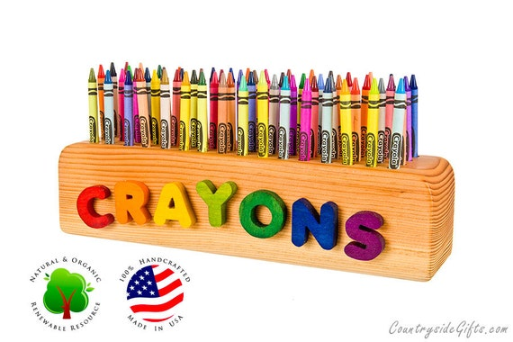 Wooden Crayon Holder - Personalized Name Wooden Crayon Holder - Handcrafted Natural & Organic - Wooden Crayon Holder for 64 Crayons
