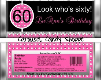 Look Who's Sixty Candybar Wrappers Birthday Party Favors Printable DIY