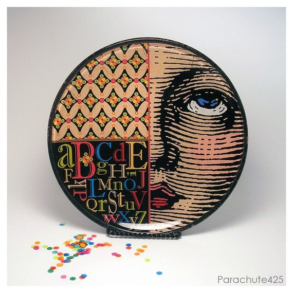 Looking Up, decoupage glass plate, original, decorative, unique home decor, dishes, colorful face, alphabet