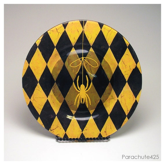 Hold On Spider, decoupage glass plate, yellow and black, Harlequin print, unique home decor