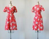 vintage 1940s dress / vintage 40s dress / vintage 1940s red fan print dress