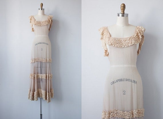 RESERVED vintage 1930s gown / vintage 1930s dress / vintage cream sheer ruffled wedding gown / antique dress