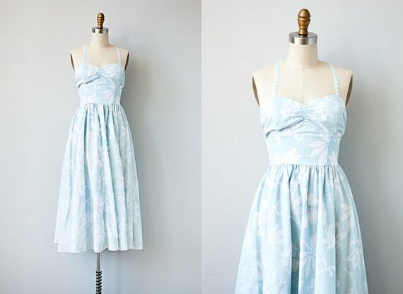vintage 1980s dress / vintage 50s style open back sundress / vintage halter dress